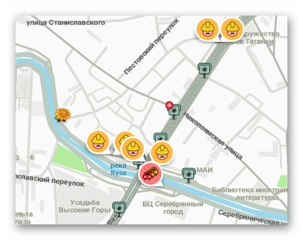 Метки на карте Waze