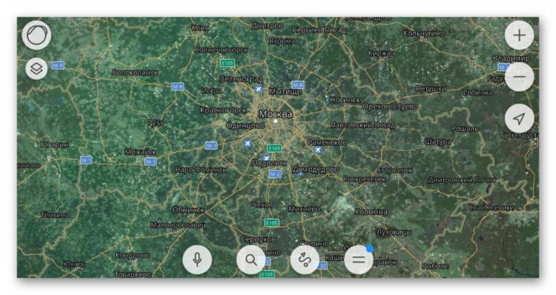 Гибридное отображение Яндекс.Карт