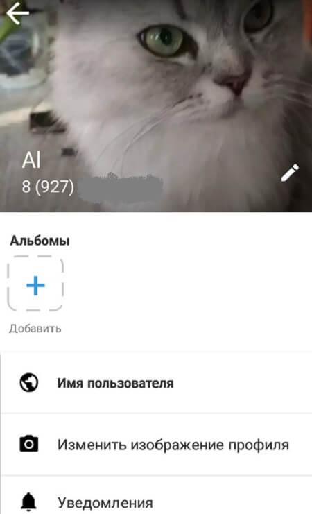 Настройка профиля в Imo на Андроид