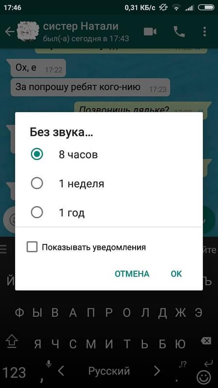 Время запрета на уведомления в WhatsApp