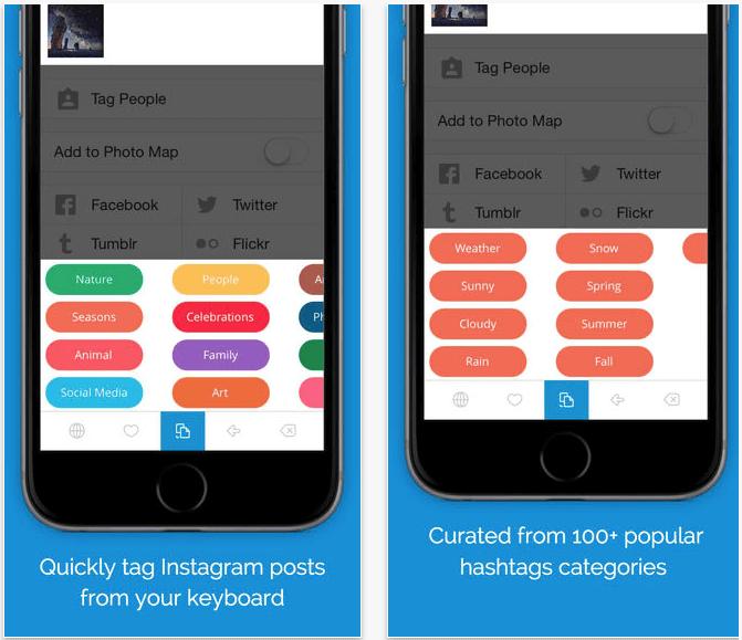 Интерфейс TagsDock клавиатуры для iOS
