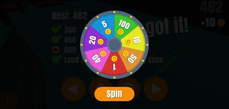 Колесо удачи в Flip Trickster на Андроид