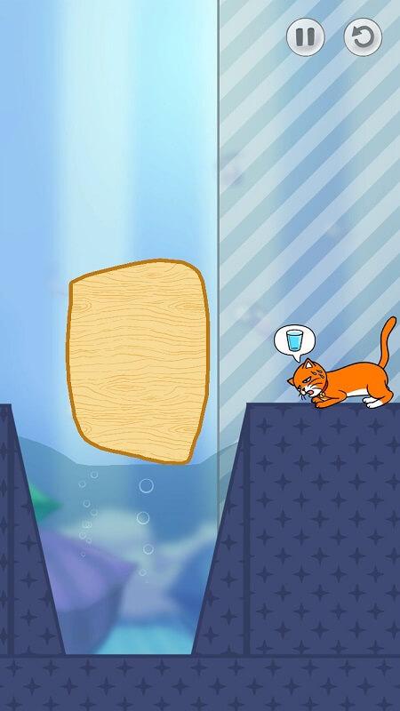 Котик хочет пить в Hello Cats на Андроид