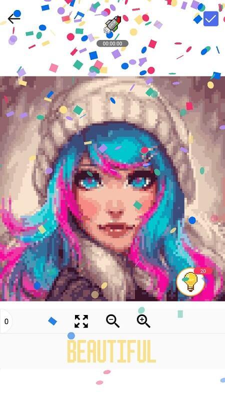 Окончание разукрашивания в Pixel Art Book на Андроид