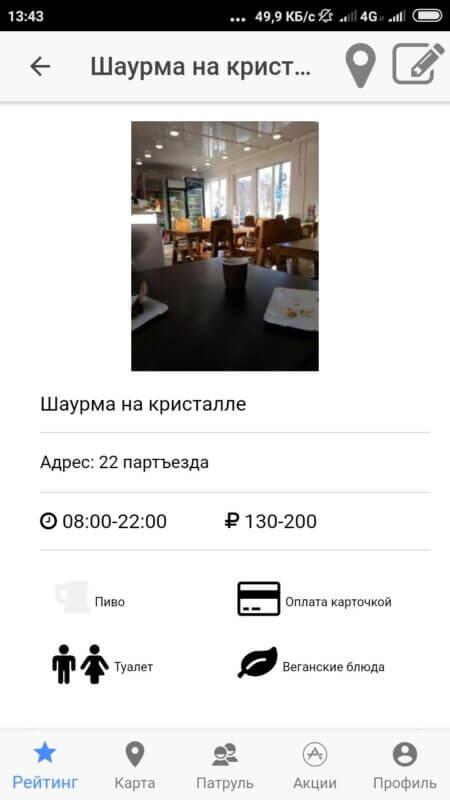 Информация о кафе в Шаверма Патруль на Андроид