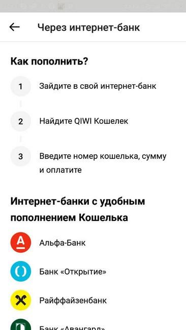 Пополнение через интернет-банк