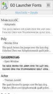 GO Launcher Fonts доступные шрифты