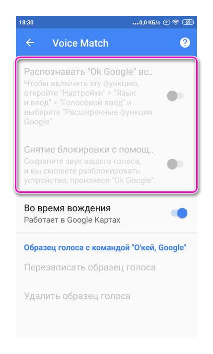 Функция Voice Match