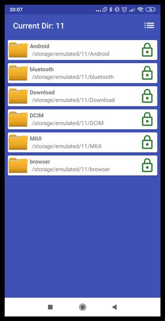 Интерфейс приложения File & Folder Secure для Android