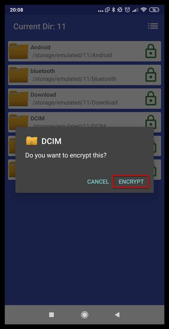 Подтверждение шифрования папки в File & Folder Secure для Андроид