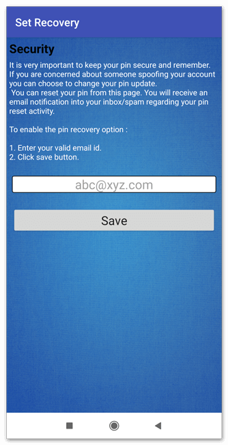 Ввод электронной почты для сброса пароля в File & Folder Secure для Андроид