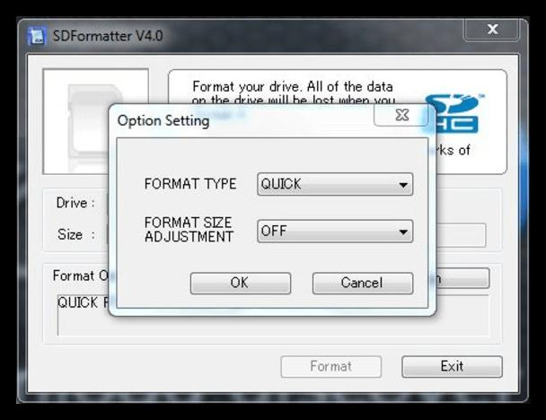 Форматирование флешки с помощью sd formatter