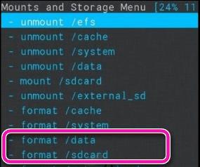 Форматирование SD карты через меню Recovery