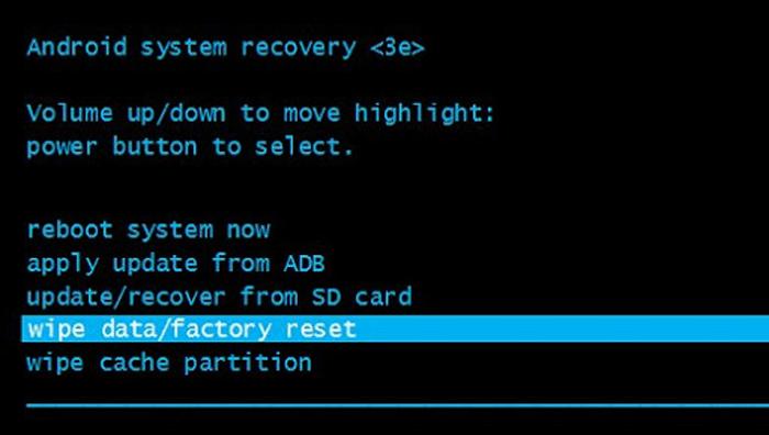 Сброс телефона до заводских настроек через Recovery