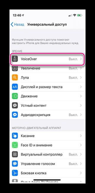 кликаем на VoiceOver