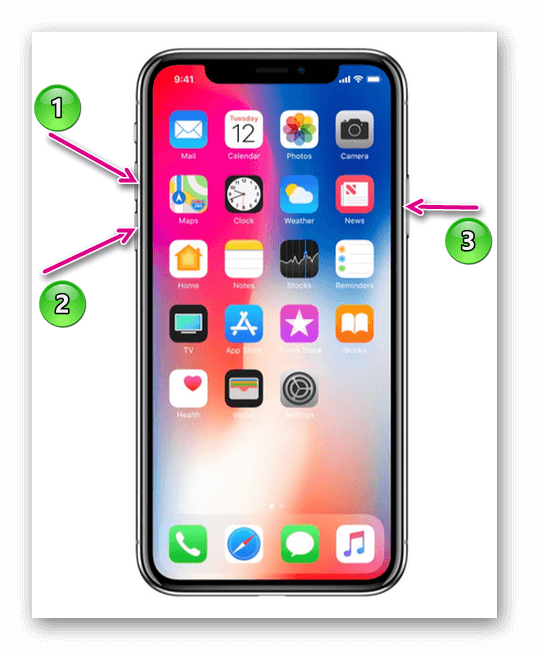 перезагрузка айфон x, xr,xs