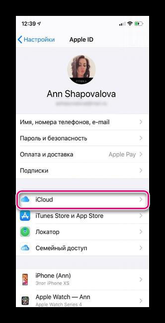 Выбираем iCloud