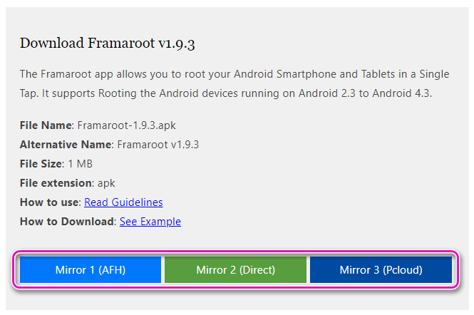 Выбор источника для скачивания Framaroot для Андроид