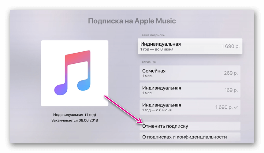 отмена подписки apple music на appletv
