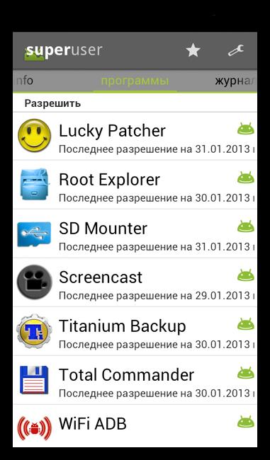 Приложения с root-доступом в Superuser для Андроид