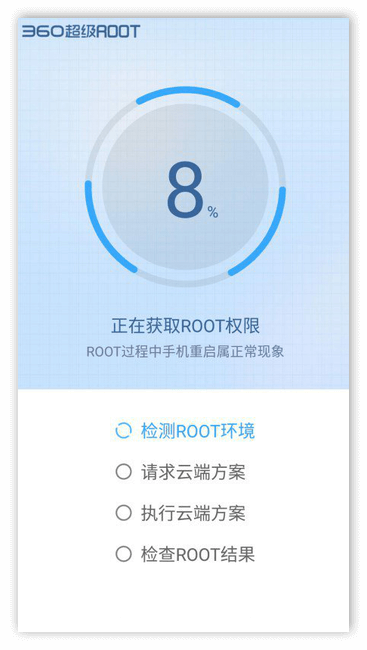 Процес получения рут-доступа в приложении 360 Root для Андроид