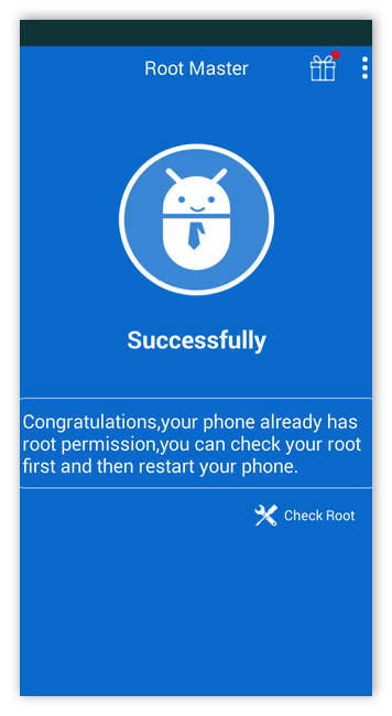 Успешное получение рута в Root Master для Андроид