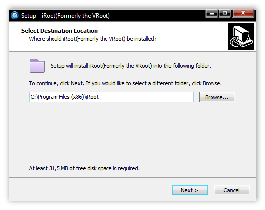 Выбор папки установки VRoot (iRoot) для компьютера