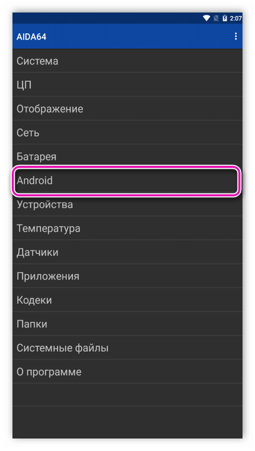 Информация об Андроид в Aida64
