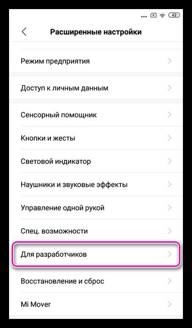 Меню для разработчиков на Андроид 8