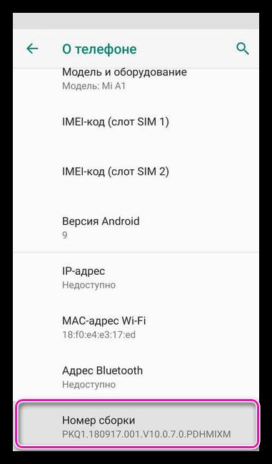 Номер сборки на Андроид 9