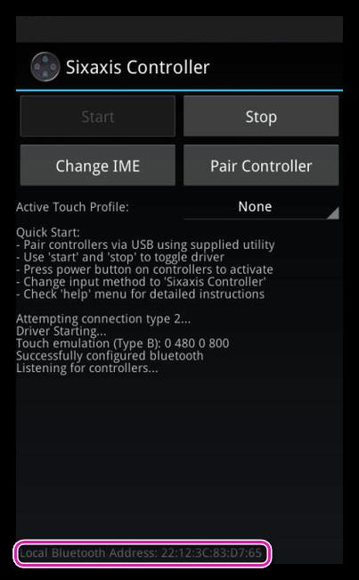Отпределение локального адреса Bluetooth в Sixaxis Controller