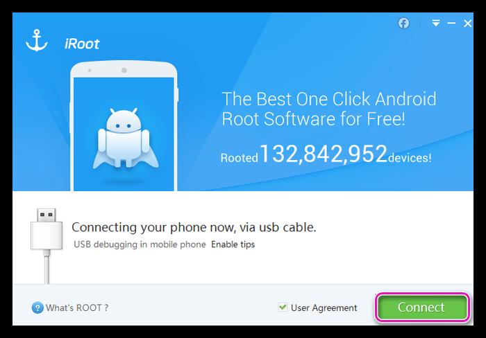 Подключение телефона к ПК в iRoot