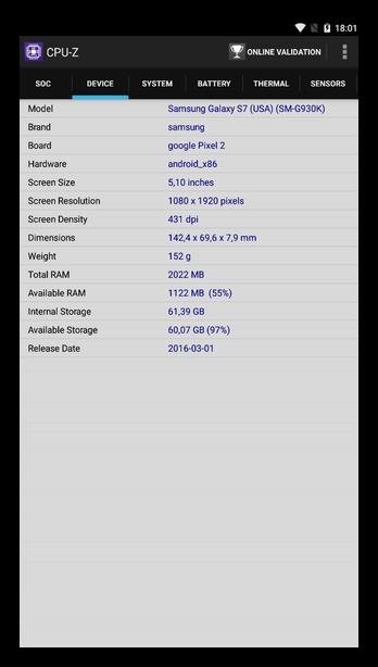 Приложение CPU-Z для Андроид