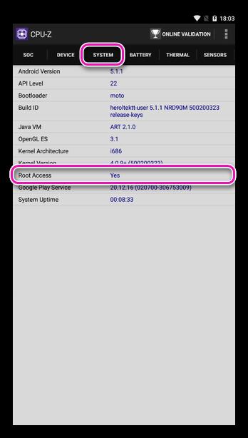 Статус root-прав в приложении CPU-Z для Android