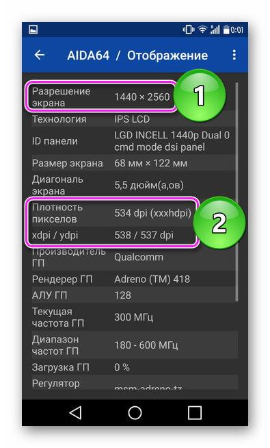 Характеристики дисплея в AIDA64