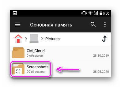 Папка Screenshots