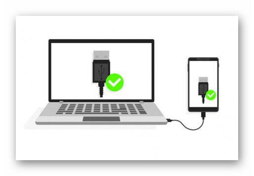 Смартфон подключенный к компьютеру