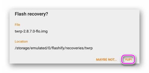 Установка TWRP через Flashify