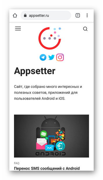 Страница сайта в Google Chrome