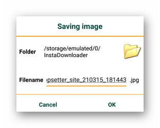 Выбор папки для сохранения картинки из Instagram