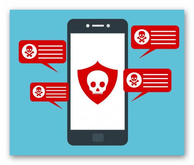 Зараженный вирусами смартфон