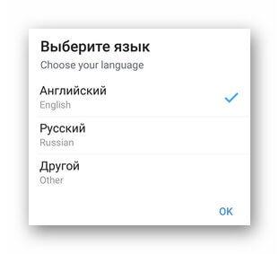 Выбор языка интерфейса