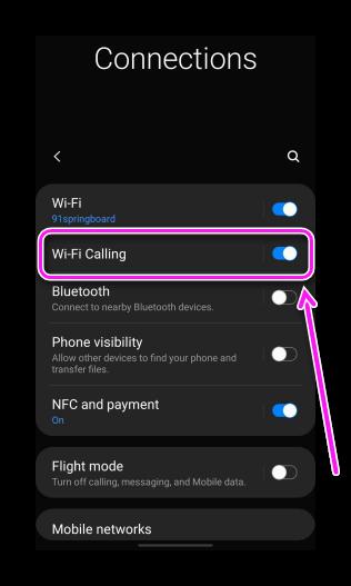 Вай-Фай звонки в Samsung