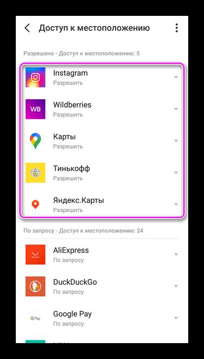 Приложения с доступом к местоположению